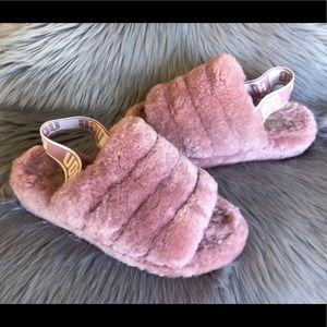 UGG Fluff Yeah Fur Slippers Pink Dawn Size 7